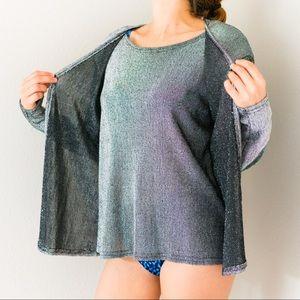 Vintage 80s Metallic Silver Sweater Shirt Top